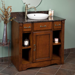 """36"""" Carrow Vanity for Semi-Recessed Sink - The 36"""" Carrow Vanity features clean lines, ample storage space and a beautiful Cherry finish. This stylish vanity set is constructed of solid wood that's designed to endure years of reliable use."""