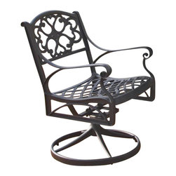 Home Styles - Home Styles Outdoor Swivel Dining Arm Chair in Black Finish - Home Styles - Patio Dining Chairs - 555453 - The Home Styles Outdoor Swivel Dining Arm Chair is constructed of solid cast aluminum with a hand antiqued powder coat black finish. This arm chair has rocking and swivel features and intricate metal work designs. Distinctly traditional in style the Home Styles Outdoor Swivel Dining Arm Chair offers a lasting appeal you will enjoy for many years.Features: