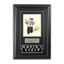 """Heritage Sports Art - Original art of the NFL 1984 New Orleans Saints uniform - This beautifully framed piece features an original piece of watercolor artwork glass-framed in an attractive two inch wide black resin frame with a double mat. The outer dimensions of the framed piece are approximately 17"""" wide x 24.5"""" high, although the exact size will vary according to the size of the original piece of art. At the core of the framed piece is the actual piece of original artwork as painted by the artist on textured 100% rag, water-marked watercolor paper. In many cases the original artwork has handwritten notes in pencil from the artist. Simply put, this is beautiful, one-of-a-kind artwork. The outer mat is a rich textured black acid-free mat with a decorative inset white v-groove, while the inner mat is a complimentary colored acid-free mat reflecting one of the team's primary colors. The image of this framed piece shows the mat color that we use (Silver). Beneath the artwork is a silver plate with black text describing the original artwork. The text for this piece will read: This original, one-of-a-kind watercolor painting of the 1984 New Orleans Saints uniform is the original artwork that was used in the creation of this New Orleans Saints uniform evolution print and tens of thousands of other New Orleans Saints products that have been sold across North America. This original piece of art was painted by artist Nola McConnan for Maple Leaf Productions Ltd. Beneath the silver plate is a 3"""" x 9"""" reproduction of a well known, best-selling print that celebrates the history of the team. The print beautifully illustrates the chronological evolution of the team's uniform and shows you how the original art was used in the creation of this print. If you look closely, you will see that the print features the actual artwork being offered for sale. The piece is framed with an extremely high quality framing glass. We have used this glass style for many years with excellent results"""