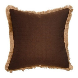 Squarefeathers - Exotic, Brown Jute Fringe Pillow - The Exotic Collection is perfect for a large room with multiple furniture pieces. The brown tone color scheme is neutral for open areas. Made of faux linen with a natural jute fringe trim. It has a soft and pump feataher/down insert inclosed with a zipper. Like all of our products, this pillow is handmade, made to order exclusively in our studio right here in the USA.