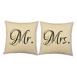 RoomCraft - Mr Mrs Throw Pillow Set 16x16 Natural Square Shams Cushions - FEATURES:
