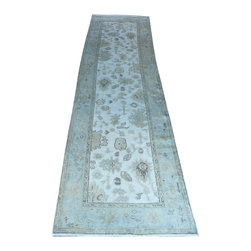 3 X 11 Hand Knotted Ivory/Light Blue Oushak Runner Rug - Oushak stands for the western Anatolian Turkish city, known for its rare collectible rugs made during the Ottoman Empire. Today we are recreating these historical carpets, in the centuries-old hand weaving techniques, the same fantastic designs in a variety of colors to fit today's decor and taste using natural dyes and hand spun wool.
