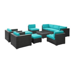 Avia All-Weather Wicker Sectional Set - Seats 7 - Your main family room might not have a configuration this cohesive and downright cool - that's the magic of the Avia All-Weather Wicker Sectional Set - Seats 7. Move the arm and armless sofa sections around as you please - playing furniture tetris with oddly shaped patios has never been easier. You'll also get two arm chairs, two ottomans, and a coffee table, not to mention cozy fabric cushions in your choice of color.But there's more to this sectional set than perfect positioning - it's built to withstand the elements. The espresso synthetic rattan weave bases have powder-coated aluminum frames that are water- and UV-resistant (and the cushions are water- and UV-resistant, too). The coffee table has a tempered glass top that's a breeze to clean, and to clean the cushion covers, simply toss them in the washing machine. Plus, this conversation set ships fully assembled - no tools or confusing instructions. Now that's a perfect setup.Dimensions:Arm chair: 31L x 36W x 25H inchesArmless section, each: 32L x 26W x 25H inchesSide section, each: 32L x 32W x 25H inchesOttoman, each: 26L x 22W x 13H inchesCoffee table: 33.5L x 22W x 18H inchesAbout ModwayModway designs and manufactures modern classic furniture pieces for the contemporary home. The quality pieces are fresh and elegant with a distinctively updated appeal. Simple, clean lines and a vibrant selection of colors and finishes make these pieces perfect for the home or office. A wide selection of products include pieces for the living room, dining room, bar, office, and outdoors. High-quality and innovative designs make Modway the premier company for luxurious modern style.
