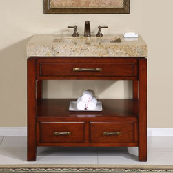 Silkroad Exclusive - 36 in. Terra Single Sink Bathroom Vanity in N - Kashmir Gold Granite Sink included. Kashmir Gold Granite Top included. Cabinet Finish: Natural Cherry. Hardware Finish: Antique Brass. Materials: Wood, CARB Ph2 Certified Plywood & MDF Panels, Stone. Distressed Finish. Pre-drilled for 3-hole, 8-inch widespread Faucet(s). Faucet(s) not included. Dimensions: 36 in. W x 23 in. D x 36 in. H (194 lbs.)A unique sophisticated design that will give any bathroom a spa like feel. With its natural Kashmir Gold Granite top and simple yet elegant cabinetry, this unique piece is available in module units from a single sink setting up to a double sink for larger bathrooms. Counter top and sink is made of Kashmir gold granite stone with a simple free flow sink design. The vibrant colors of Kashmir gold granite from light gold, yellow and light brown will brighten and update any design.Disclaimer: Measurements are rounded off. Each of our fine bathroom vanities is a one-of-a-kind masterpiece, detailed with a multi-step hand finishing process. With individual technique and interpretation, no two pieces are exactly the same (color may vary). Individual personality of each stone top is further expressed by anomalies such as veining and coloration, as the nature of stone. Actual color may vary due to individual computer monitor display settings.