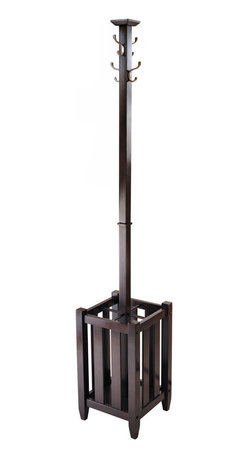 """Winsome Wood - Winsome Wood Memphis Coat Tree & Umbrella Rack in Cappuccino - Perfect for your front entry way to greet your coats, umbrellas or hats. Comes with four double hooks and storage rack. Storage has four sections with each has 5""""W x 5""""D x 17""""H. Double metal hooks made of zinc alloy with satin nickel finish. Coat Tree is made from combination of solid and composite wood in Cappuccino Finish. Assembly Required. Coat Tree & Umbrella Rack (1)"""