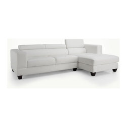"""Wildon Home � - Bellagio Reclining Sectional - Features: -Upholstery: White bonded leather. -Multi level reclining headrests . -Pocket coil seating. Dimensions: -Loveseat Dimensions: 31"""" H x 66"""" W x 37"""" D, 88 lbs. -Chaise Dimensions: 31"""" H x 40"""" W x 62"""" D, 88 lbs."""