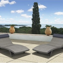 Atlantic New Hampshire All-Weather Wicker Deluxe Chaise Lounge - Set of 2 - When we're talking about proper angles for relaxation, don't be obtuse and pass up the New Hampshire All-Weather Wicker Deluxe Chaise Lounge - Set of 2. Based on the classic design for an outdoor lounger, this modern take sports a frame of lightweight, all-weather aluminum covered in resin wicker, a material that looks and feels like traditional wicker but has the durable, moisture-resistance of modern synthetics. An ergonomic shape and multiple reclining positions give you maximum support and comfort, while the padded head rest supports your weary noggin after you've thoroughly researched your favorite reclining angle.