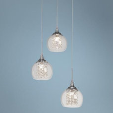 "Possini Encircled Crystal 12"" Wide Halogen 3-in-1 Pendant 