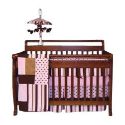 Trend Lab - Pink Maya Crib Bedding Set (4 Pc.) - Maya combines traditional polka dots and stripes in a simply modern color combination of pink with chocolate and caramel browns. The group includes super soft ultra-suede, velour and linen accents.