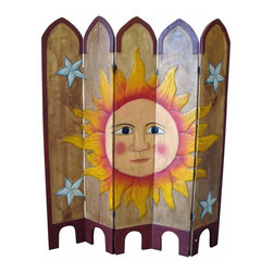 Sun Hand Painted Mexican Room Divider - Look at this beautiful screen! Hand carved and painted. Each one is slightly different and unique. Mexico's best.