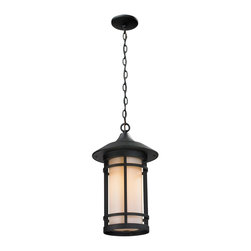 Z-Lite - Z-Lite 527CHB-BK Woodland 1 Light Outdoor Pendant/Chandelier in Black - Today's contemporary homes as well as homes of the craftsmen style are particularly well suited with the classic styling of this large outdoor chain light. This fixture has black finish with matte opal glass.