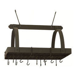 Old Dutch International - Graphite Pot Rack w/Grid & 24  Hooks - Not to leave you hanging, but this pot rack made of heavy steel is off the hook. Traditional in design and materials, this powerhouse of the kitchen includes a grid and 24 sturdy hooks to keep your cookware frightfully organized and pleasingly within reach.