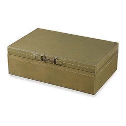 Kathy Kuo Home - Metro Rustic Lodge Forest Green Leather Accessory Box - Watches, wallets, money clips and keys finally find a permanent place of residence in this refined leather box. Finished in muted green with antique brass hardware, this convenient catch-all keeps articles separated and scratch-free.