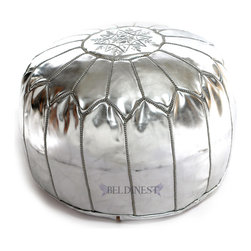 """Moroccan Pouf,Silver Ski Leather Pouf, Round Ottoman Foot Stool Pouffe - Moroccan Poufs are wonderful leather ottomans used for seating. This type of furniture can go by many names, such as hassock, tuffet , and of course ottoman. Outside the United States it's more commonly spelled """"Pouffe"""". These lovely round ottomans have many different uses. For example it's an excellent foot stool or foot rest and a lovely piece of furniture or housewares; however it's mainly used for seating. A Moroccan Pouffe makes for an excellent piece of home decor. We hand process our Moroccan poufs by the same traditions that remain unchanged for centuries and were passed down through families for generations. We use an earth-friendly process to produce these poufs this includes using natural dyes and sunlight to tan the hides. We embroider colorful hand stitched designs onto the leather pouffe. We create new ideas to design new styles that bring trend to the world of home decor and design. A Moroccan Pouf can come in a large variety of colors sizes and styles from simple plain designs to intricate and embroidered designs. As much as these leather poufs are useful, this type of furniture can bring a nice addition and provide seating to any room whether inside homes, restaurants, hotels, clubs, and much more, it's a beautiful piece of home decor."""