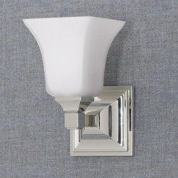 Murray Feiss - Murray Feiss American Foursquare Bathroom Lighting Fixture in Polished Nickel - Shown in picture: American Foursquare Vanity Strip in Polished Nickel finish with Opal etched glass shade