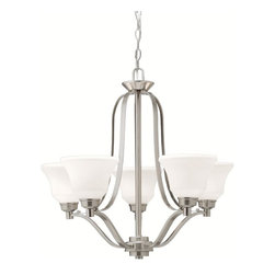 BUILDER - BUILDER Langford Transitional Chandelier X-IN3871 - Creating graceful silhouettes for the home interiors, this nickel chandelier features five etched white glass shades for a soft glow. The Kichler Lighting Langford Transitional chandelier is dressed in a brushed nickel finish for a contemporary, sleek look. This exquisite chandelier provides a fresh ambiance to the room.