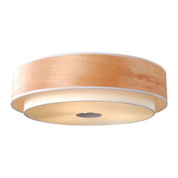 ParrotUncle - Textured Linen Wood Veneer Drum Shape Flush Mount - Flush mount, outside in nature pain wood veneer shade,white textured linen inner shade, glass diffuser at bottom with chrome metal details. adjustable aircraft cable, clear cord.