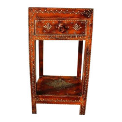 Distress Orange Painted Work Side End Table Nightstand - Distressed Finish Hand Painted Brass Embossed Side Table/Night Stand.