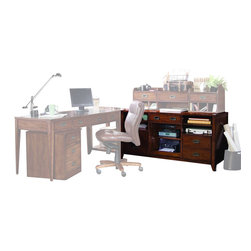 "Hooker Furniture - Danforth Open Credenza - White glove, in-home delivery included!  Includes furniture assembly!  Credenza only.  (Pictured with Smart Hutch, Mobile File, Exectutive Leg Desk, and Corner Unit.)  Danforth's styling is inspired by British campaign sea chests from the colonial era.  A rich medium brown finish is rendered on birch solids and cherry veneers.  Recessed campaign hardware is used on drawers and doors.  Top center drawer with drop-front for keyboard, three adjustable shelves, two file drawers with Pendaflex letter/legal file system, printer pullout, Power Director II, and levelers.  (Power Director II: Front: two switched electrical outlets, one phone ""out"" jack, one high speed data ""out"" port, USB ""in/out"" outlet; Back: three switched electrical outlets, one constant power outlet, one phone ""in/out"" jack, USB ""in/out"" outlet, one high speed data ""in/out"" port, surge and lightning protection with $10,000 connected equipment warranty.)  Keyboard area: 17 3/8"" w x 15 1/2"" d x 3"" h  Printer area: 18 7/8"" w x 18 3/4"" d x 13 3/4"" h  Knee space: 25"" h  Middle Drawer - Inside: 17 3/8"" w x 15 7/16"" d x 2 5/8"" h  Bottom Drawers - Inside: 15"" w x 16 1/4"" d x 11"" h"