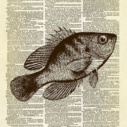 Altered Artichoke - Swimming Fish Dictionary Print, Sepia - This print features an antique illustration of a fish swimming in the ocean. He's swimming up at an angle, and the drawing is wonderfully detailed.