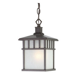 Dolan Designs - Dolan Designs 9113 Craftsman / Mission 1 Light Outdoor Pendant from the Barton C - Craftsman / Mission Single Light Outdoor Pendant from the Barton CollectionThe Barton collection outdoor pendant gives the rustic feeling of a lantern without the hassle of candles. Beautifully surrounded in Arizona glass, it is sure to make any outdoor space more cozy.Features:
