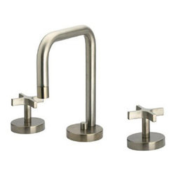 Whitehaus Collection - Polished Chrome Whitehaus WH83214 Widespread Deck Mount Modern Cross Handle Bath - The Whitehaus brand widespread modern cross handle bathroom faucet has a distinguishing bold and basic form that gives it appeal. The cross handles gives you more control of the water pressure and the pop-up drain gives you more ease in operation. This is perfect for your recessed or under mount lavatories.