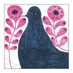Kathy Kuo Home - Black Bird in Pink Reclaimed Wood Vintage Wall Art - Large - Strutting its way through stylized pink flowers, this blackbird has primitive presence. It's giclee printed to preserve the beauty and charm of the original and is available in two sizes. Bring it home to roost for a whimsical note for your walls.