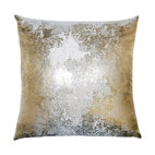 Square Feathers - Antiqued Metallic Pillow - The burnished silver design on this pillow gives an incredible update to velvet. Picture it paired with other neutral tones to introduce a low-key sheen to your room.