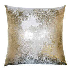Square Feathers - Brillante Antiqued Pillow - The burnished silver design on this pillow gives an incredible update to velvet. Picture it paired with other neutral tones to introduce a low-key sheen to your room.