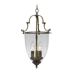 Pendant Light with Clear Glass in Autumn Brass Finish -
