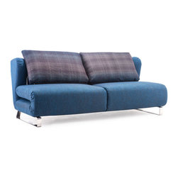 ZUO - Conic Sofa Sleeper - Cowboy Blue Body & Shadow Grid Cushion - Clever folds make the Conic Sleeper Sofa as comfortable a bed as it is a couch. Perfect for the guest room-slash-home office. Comes in cement with a color block back cushion or cowboy blue with a shadow grid cushion.