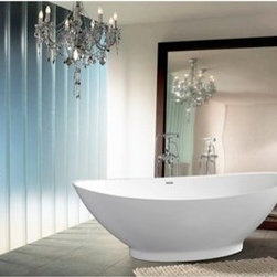 """Aquatica - Aquatica PureScape 621M Freestanding AquaStone Bathtub - White - Treat yourself and soak in peaceful tranquility with Aquatica's stylish and ergonomic PureScape 621M AquaStone freestanding bathtub. Aquatica challenges everything we thought we knew about a stone bathtub with the world-class modern design and ergonomic features that are incorporated into all of their luxury tubs. Made of AquaStone, an advanced solid composite material which consists of a high percentage of natural stone minerals and of a low percentage of acrylic resin, Aquatica AquaStone bathtubs are as durable as bathtubs come. With its velvety nonporous texture, AquaStone is also hypoallergenic, non-toxic, and 100% recyclable and fire-resistant. FEATURES:Striking upscale modern designFreestanding constructionSolid, one-piece construction for safety and durabilityExtra deep, full-body soakErgonomic design forms to the body's shape for ultimate comfortQuick and easy installationAquaStone material provides for excellent heat retention and durabilityVelvety texture which is warm and pleasant to the touchHypoallergenic white surfaceColor is consistent throughout its thickness - not painted onColor will not fade or lose its brilliance overtimeBuilt-in overflow drain and preinstalled pop up waste drain includedDesigned for one or two person bathingNon-porous surface for easy cleaning and sanitizingAdjustable height legs100% recyclable and fire-resistantChrome plated drain5 Year Limited WarrantyCode compliant with American standard 1.5"""" waste outletsSPECIFICATIONS:Overall Dimensions: 72 in. L X 33.25 in. W X 23.25 in. HDepth to Overflow Drain: 15.25 in.Interior Depth: 17.75 in.Interior Length (Top): 71.25 in.Interior Width (Top): 31.33 in.Interior Length (Bottom): 38.5 in.Interior Width (Bottom): 20 in.Weight: 300 lbsCapacity: See Spec SheetShape: SpoonDrain Placement: CenterSpec SheetNote: This model usually ships in 1-2 days. Please allow an additional 2-3 business days for order transmittal a"""