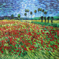 "overstockArt.com - Van Gogh - Field of Poppies - 20"" X 24"" Oil Painting On Canvas Hand painted oil reproduction of one of the most famous Van Gogh paintings, Field of Poppies. The original masterpiece was created in 1889. Today it has been carefully recreated detail-by-detail, color-by-color to near perfection. Why settle for a print when you can add sophistication to your rooms with a beautiful fine gallery reproduction oil painting? Vincent Van Gogh's restless spirit and depressive mental state fired his artistic work with great joy and, sadly, equally great despair. Known as a prolific Post-Impressionist, he produced many paintings that were heavily biographical. This work of art has the same emotions and beauty as the original by Van Gogh. Why not grace your home with this reproduced masterpiece? It is sure to bring many admirers!"