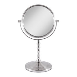 Lamps Plus - Satin Nickel Swivel 5X Magnification Makeup Mirror - A sleek satin nickel design that offers a dual-sided magnified mirror. An ideal addition to any bathroom, this makeup mirror features a non-slip base. The dual-sided optic glass features 1x magnification on one side and 5x magnification on the other. The mirror can swivel a full 360 degrees for easy viewing at any angle.