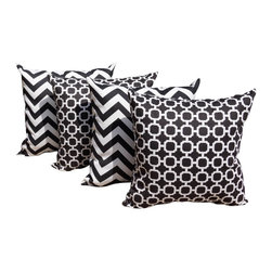 Land of Pillows - Hockley Noir Black and Chevron Black & White Outdoor Throw Pillow - Set of 4, 20 - Outdoor Black Pillow Set - Chevron & Hockley