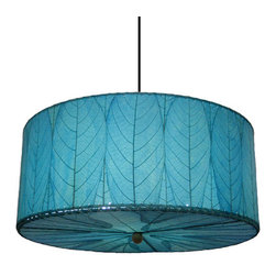 Eangee Home Design - Sea Blue Three-Light Fossilized Leaves Drum Pendant - -Metal frame.  -Cocoa leaf shade. Eangee Home Design - 497ASB
