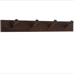 """Gibson Wall Organizer, Wall Pegs Short 22"""" - Traditional Shaker peg rails form the basis of this highly flexible modular organizing system. Hanging Cup: 5"""" wide x 4.5"""" deep x 14"""" high Metal Shelf: 21.75"""" wide x 6.75"""" deep x 15"""" high Small Wall Peg: 22.75"""" wide x 4"""" deep x 3"""" high (sold separately) Large Wall Peg: 39.75"""" wide x 4"""" deep x 3"""" high (sold separately) Wrapping Paper Holder: 33"""" wide x 4.5"""" deep x 37"""" high Made of iron and acacia wood. Mounting hardware included for wall pegs. Catalog / Internet Only."""