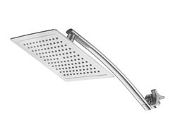 """Aquagenix® Razor - Aquagenix® Razor 9"""" Rainfall Square Showerhead with 15"""" Arch Arm - Enjoy a refreshing showering experience with the Aquagenix Razor 9"""" Rainfall Square Shower Head with 15"""" Arch Arm. Featuring a sleek design, this high quality shower head will look stylish in any modern bathroom. This shower head comes with 15"""" Stainless Steel Extension Arm."""