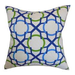 "The Pillow Collection - Lacbiche Geometric Pillow Blue Green 18"" x 18"" - Provide a fresh and new look to your interiors by propping up this quaint home accessory. This decor pillow is a perfect statement piece for your office or home furniture. This accent pillow brightens up the living room and bedroom with its unique geometric print. Shades of green, blue and white are highlighted in this 18"" pillow. Made from 100% high-quality cotton fabric. Hidden zipper closure for easy cover removal.  Knife edge finish on all four sides.  Reversible pillow with the same fabric on the back side.  Spot cleaning suggested."