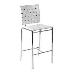 Eurostyle - Carina-C Counter Chair (Set Of 2)-Wht - This eye-catching counter chair displays a stunning backrest to give you that sophisticated lounge feel in your kitchen. In addition, an arched bar connects the two foot supports, providing yet another stylish feature.