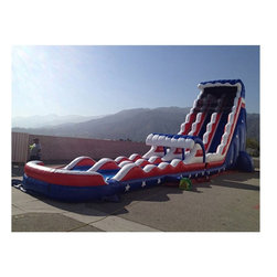 EZ Inflatables - EZ Inflatables 27 ft. Stars and Stripes Slide - WS232 - Shop for Tents and Playhouses from Hayneedle.com! Summer is all about the Fourth of July which makes the EZ Inflatables 27 ft. Stars and Stripes Slide perfect for your festival or even home. This water slide is commercially rated to ensure extreme durability has a USA theme everyone will love and is loaded with built-in safety features. Dual slides mean two sliders can go down at once the attached ladder offers easy access and the mesh tarp at the top to keep them safely in check on the way down. This water slide offers a comfortable ride with side bumpers and a pool at the bottom that keeps everyone safe as they slip and slide. At 27 feet tall this water slide is massive and it comes complete with the 1.5 HP blower handy patch kit with glue and anchor stakes to keep it in place.About EZ InflatablesEZ inflatables Inc. has over 14 years of experience designing engineering and creating fun in the form of inflatable jumpers moonwalks and water slides. They have quickly become a leading worldwide supplier in the party rental industry. EZ Inflatables creates safe high performance inflatables that are built to last. All of their inflatables are made tough of the finest quality 18.5 ounce PVC coated vinyl with heavy-duty nylon thread and reinforced rainbow netting windows on all sides.