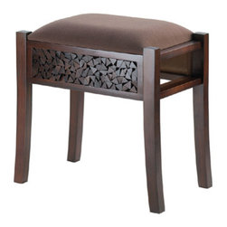 n/a - Regent Carved Foot Stool - There's a lot of luxury packed into this vanity stool!  This beautiful and intricate carving on the base is regal, and the suede-like neutral upholstery will make this rectangular vanity stool at home anywhere.  Some assembly required.