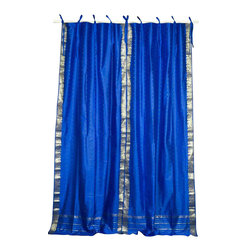 Indian Selections - Pair of Island Blue Tie Top Sheer Sari Curtains, 60 X 120 In. - Size of each curtain: 60 Inches wide X 120
