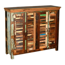 Sierra Living Concepts - Reclaimed Wood Multi Color Shutter Buffet - Bring the romance of by gone days home with our Appalachian Rustic Shutter Door Buffet.