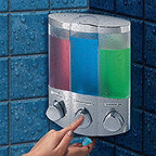 Three Compartment Corner Shower Dispenser - Chrome - Save space in the shower and have all your shower gels, shampoos, and conditioners in one handy place. Featuring two space saving options, this container installs in minutes on any tile, marble, acrylic or fiberglass wall surface. Available in a chrome finish, this container holds three of your favorite shower liquids and dispenses them at the push of a button.  A great way to eliminate clutter caused by too many bottles in your shower, this dispenser installs quickly and easily with no tools required. Waterproof labels, complete instructions, and tape tabs and silicone adhesive included.  Can be placed in the corner of your shower or simply right on the wall.