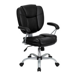 Flash Furniture - Flash Furniture Office Chairs Leather Task chairs X-GG-KB-039-OG - This inviting chair has a unique look to show off your modern taste in computer seating. With its eye-catching platinum framing and arm design it is sure to please. Chair features generous padded seat, back and arms to provide comfort throughout the day. No disappointments with this chair and all of its great features all at a very reasonable price. [GO-930-BK-GG]