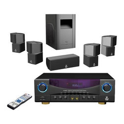 "PYLE - PYLE PT598AS 5.1Ch 350W Digital Home Theater - The PT598AS is our premiere home theater package. It includes a 5.1 channel home receiver with built-in AM/FM radio, two mic inputs, USB/SD card inputs for digital music playback, and 350 watts of output power, plus four surround speakers, a center channel speaker, and a subwoofer. That's 5.1 channels of power, all included. with the receiver, store up to 12 presets. Adjust the mic volume control, treble, and bass. Inputs for 3 stereo RCA appliances. 2 channel speaker output. VFD display shows station frequency. Short circuit, thermal, and overload protection keeps your equipment secure.      5.1 Channel Amplifier.    Built-In AM/FM Radio.    2 MIC Input, Treble and Bass of MIC Adjustable, Independent MIC Volume Control.    Over Current Protection, Short Circuit Protection and Over Voltage Protection.    12 Preset Radio Station.    Full Remote Control.    VFD Display.    Power Input: AC 115V 60Hz/230V 50Hz.    Power Output: 300W L,R Channel (4 Ohm); 50W for Center, Surround L and Surround R (4 Ohm).    In-Out Selector: 3 Stereo RCA Inputs, AM/FM Radio, 1 DVD Input, 2 Microphone Inputs.    Output: 5 Channel Speaker Output Terminal for Left, Right, Center, Front Left, Front Right and Subwoofer.    Dimensions: 25.2"" x 20.3"" x 16.5"".     Model: PT598AS"