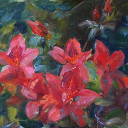 Red Savannah Azaleas (Original) by Ann Marshall Bailey - Painted on location in Savannah during the Spring blooming season- these rich red blossoms were blowing in the wind... had to paint fast to capture them! True plein air, and vibrant peaceful colors. Perfect size for an intimate space.