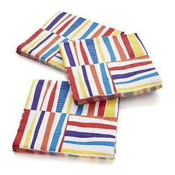 """Set of 20 Stix Beverage Napkins - Freeform """"sticks"""" in summery brights run up and down on go-to paper napkins just right for fiestas, barbeques and graduation parties."""