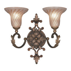 Fine Art Lamps - Stile Bellagio Sconce, 175350ST - Appoint your favorite space with this delicate yet distinctive wall sconce. Here, tortoised, crackle-finished leather with stained silver-leaf accents loft twin shades of fluted handblown glass.